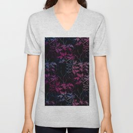 Dark Nature Pattern Abstract (black & pink) Unisex V-Neck