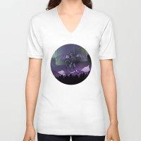 aurora V-neck T-shirts featuring Aurora by Melissa Dekker