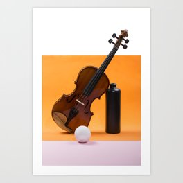 Still-life with a violin, a ball and a dark bottle Art Print