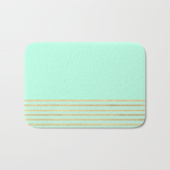 Mint and Gold stripes Bath Mat