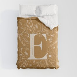 Botanical Letter E (Mustard Yellow) Comforters