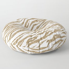 White & Glitter Animal Print Pattern Floor Pillow