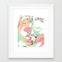 appa Framed Art Prints featuring Appa and Momo by lavaniteuse