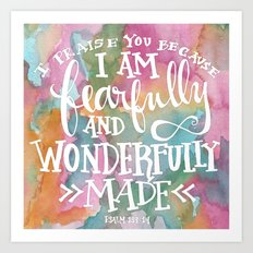 Fearfully and Wonderfully Made - Watercolor Scripture by Misty Diller Art Print