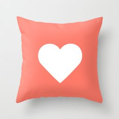 Peach Heart Throw Pillow