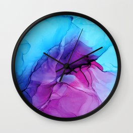 Aqua Pop - Alcohol Ink Painting Wall Clock