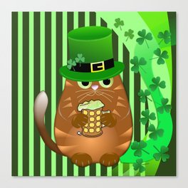 Sint Patrick's day cat with green top hat and drinking beer Canvas Print