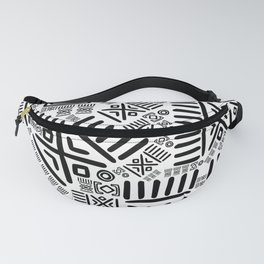 Ethnic African Pattern- Black and White #8 Fanny Pack
