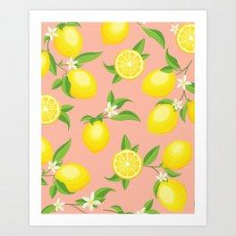 a5b47ea80 You re the Zest - Lemons on Pink Art Print
