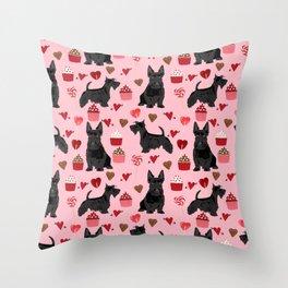 Scottie scottish terrier valentines day dog love pet portrait cute puppy dog valentine Throw Pillow