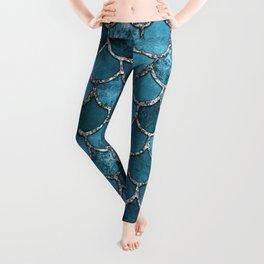 Turquoise Silver Mermaid Scales Leggings