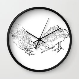 Two Chickens Pecking - Pen and Ink Wall Clock