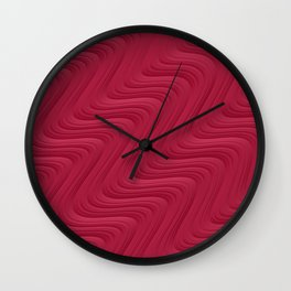 Crimson Waves Wall Clock