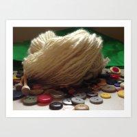 Handspun Yarn in a Field of Buttons Art Print