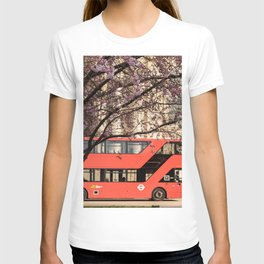 London Travel Spring Photography, Pink Flowers in Bloom and Red Double Decker Bus T-shirt