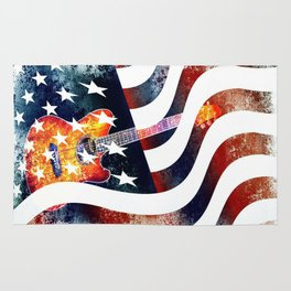 Country Music Guitar And American Flag By Annie Zeno  Rug