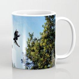 Yellow-Tailed Black Cockatoo Jumping Between Trees Coffee Mug