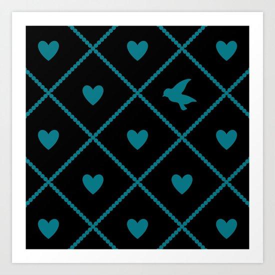 Always Near (from the Valentine set) (colors: midnight malachite) Art Print
