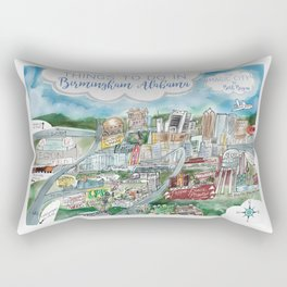 Cartoon Map of Birmingham, Alabama Landmarks Rectangular Pillow