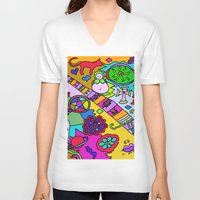 bible verses V-neck T-shirts featuring Science Verses Religion by Linda Tomei