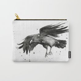 Raven Watercolor Bird Painting Black Animals Carry-All Pouch