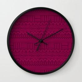 Mud Cloth in Raspberry Wall Clock