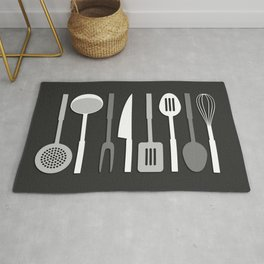 Kitchen Utensil Silhouettes Monochrome II Rug