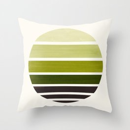 Olive Green Mid Century Modern Minimalist Circle Round Photo Staggered Sunset Geometric Stripe Desig Throw Pillow