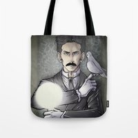 tesla Tote Bags featuring Tesla by Isara