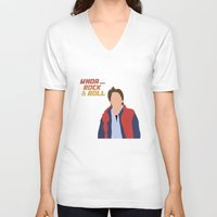mcfly V-neck T-shirts featuring Marty McFly by Christina