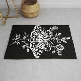 butterfly black Rug