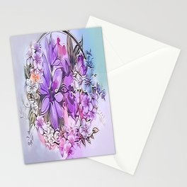 Painterly Violet Floral Abstract Stationery Cards
