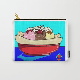 A Banana Split with Syrup on a Blue Table Carry-All Pouch