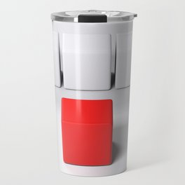 Line of white cubes in front of a red one - 3D rendering Travel Mug