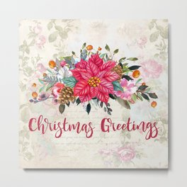Christmas Greetings Poinsettia Bouquet Metal Print