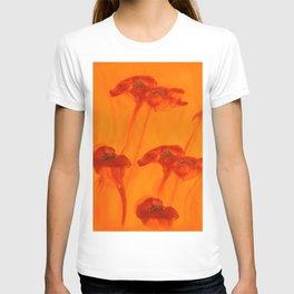 Abstract Red Poppy Flowers Orange Background #decor #society6 #buyart T-shirt