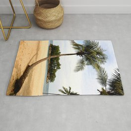 Palm Tree on a Sandy Beach Rug