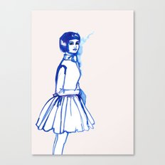 what is she thINKing?blue Canvas Print