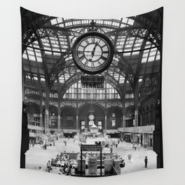 Penn Station 370 Seventh Avenue Train Station Concourse New York black and white photography - photo Wall Tapestry