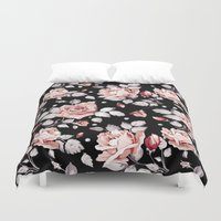 shabby chic Duvet Covers featuring Shabby Chic Rose by Madisyn Nicole