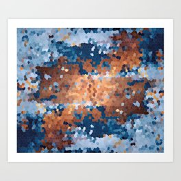 Copper and Denim Abstract Art Print