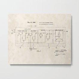 Bio-instrumentation Apparatus Vintage Patent Drawing Metal Print