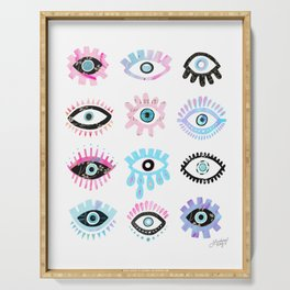 Evil Eyes Pink  Serving Tray
