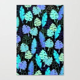 tropic leaves pattern (monstera and the bird of paradise) Canvas Print
