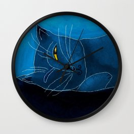 Sleeping Cat Abstract Digital Painting Wall Clock