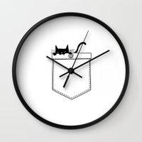pocket Wall Clocks featuring Pocket Cat by Tobe Fonseca