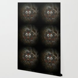 Cute little steampunk owl with floral elements Wallpaper
