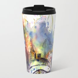 Chicago Bean Cityscape Watercolor Painting Travel Mug