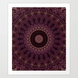 Mandala in dark purple and golden colors Art Print