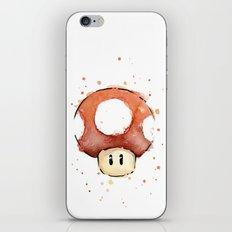 Red Mushroom Watercolor Mario Art Nintendo Geek Gaming iPhone & iPod Skin